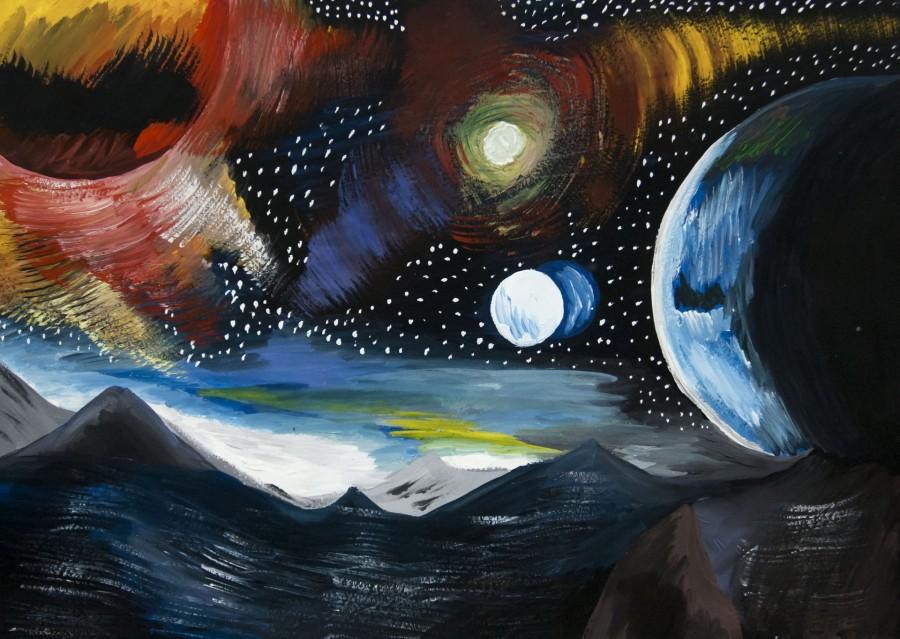 Картинки красками космос, поздравительные виртуальные