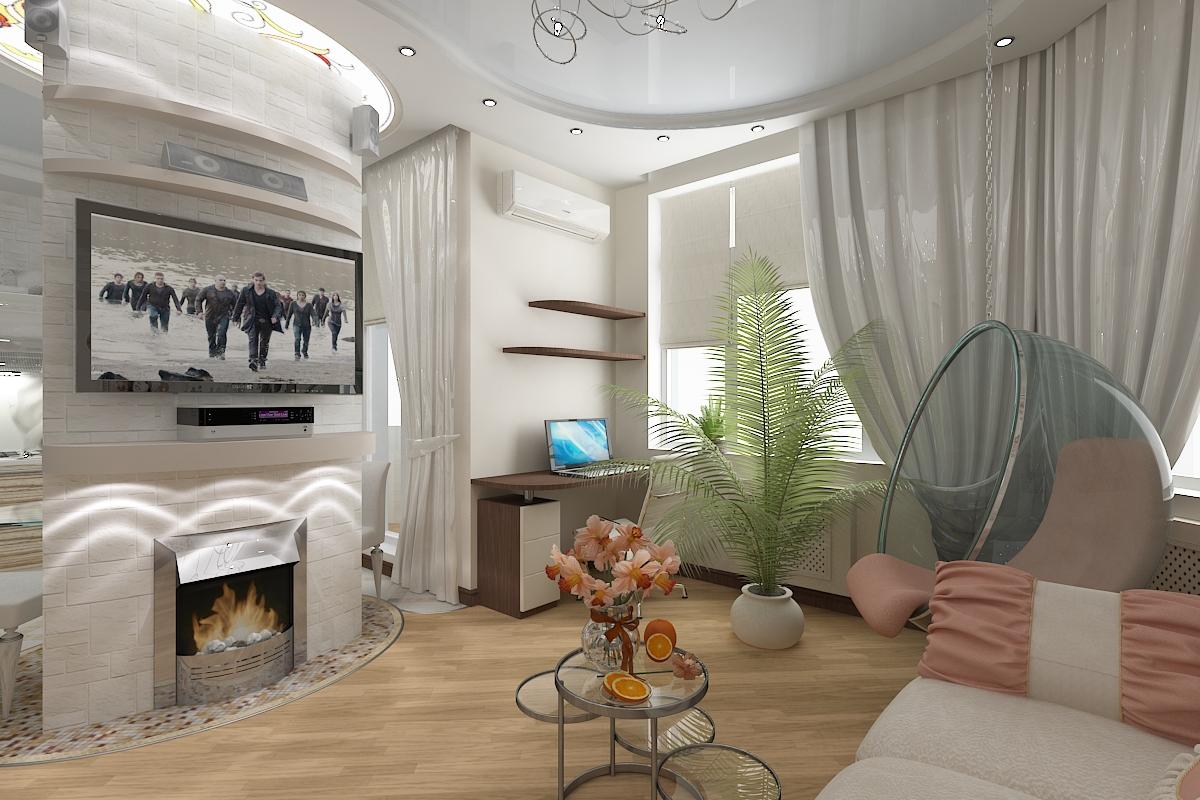Interior Ruang Tamu Di Sebuah Apartemen Kecil Furnitur