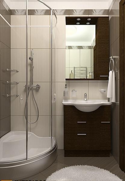 Дизайн маленькой ванной комнаты без туалета с душевой кабиной