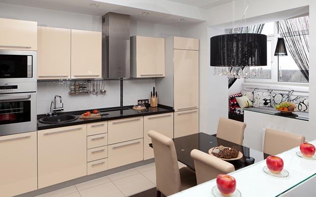 Фото стильной кухни с балконом