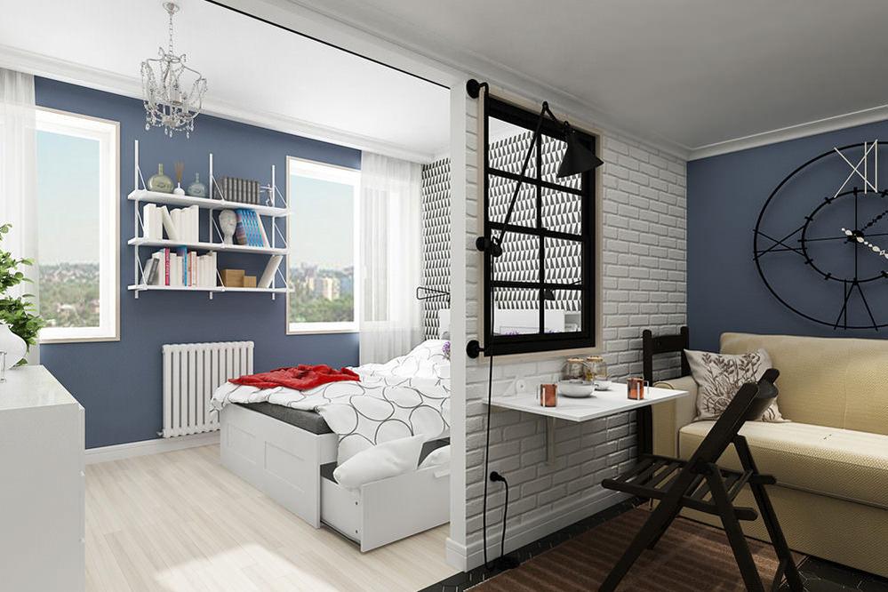 Zonläggning av en sovplats utan fönster. Vardagsrum kombinerat med ...